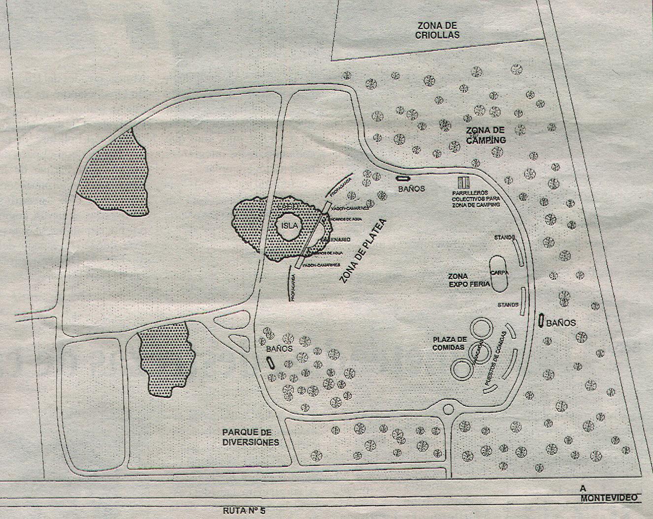 Plano del Parque de la hispanidad con las diferentes zonas del 28º Festival Nacional de Folklore